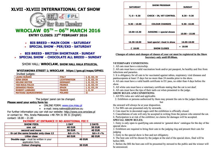 Cat Show info